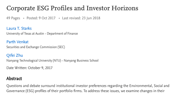 "Paper ""Corporate ESG Profiles and Investor Horizons"""